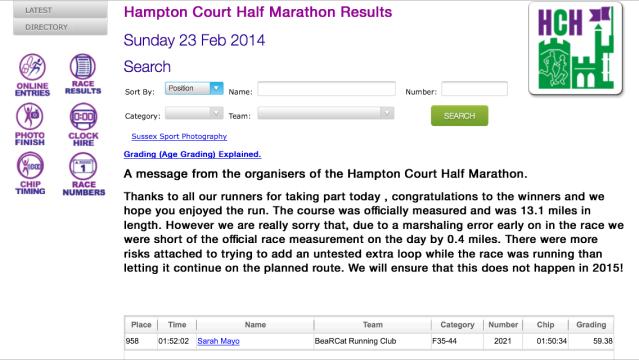 Hampton Court Half result