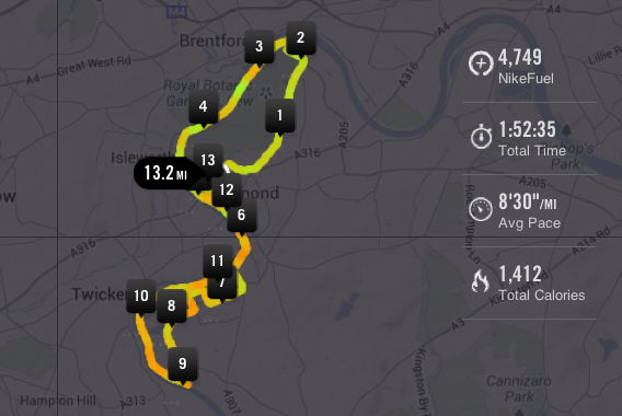 Richmond Half Marathon route